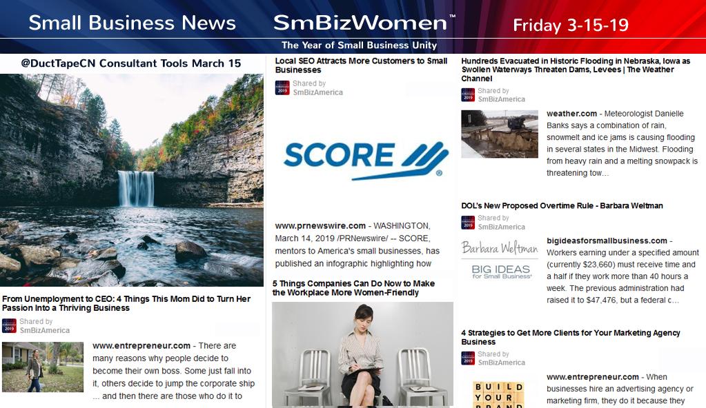 Small Business News 3-15-19 SmBizWomen #SmallBusinessNews www.SmBizNews.com